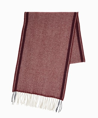 Drakes Lambswool Herringbone Scarf in Wine