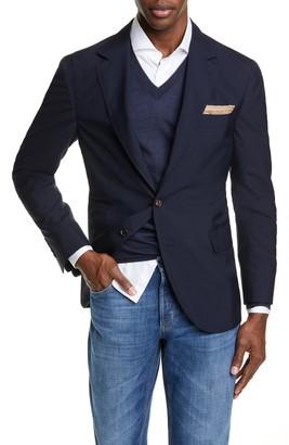 Brunello Cucinelli Trim Fit Solid Wool & Silk Travel Blazer