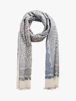 RRP £30 John Lewis Napping Cats Scarf Blue Mix