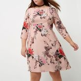 River Island Womens Plus pink floral print midi dress