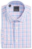 David Donahue Men's Big & Tall Regular Fit Plaid Dress Shirt