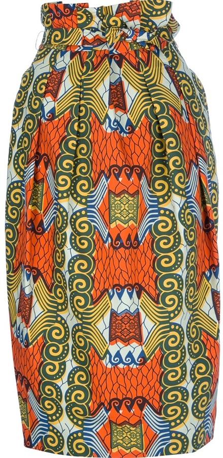 Stella Jean Printed high-waist skirt