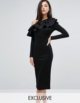 Club L One Shoulder Frill Detail Long Sleeve Midi Dress
