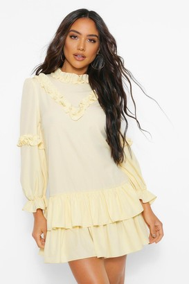 boohoo Balloon Sleeve Double Frill Hem Shift Dress