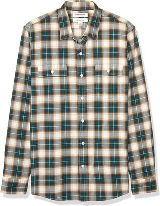 Goodthreads Amazon Brand Men's Slim-Fit Long-Sleeve Plaid Herringbone Shirt