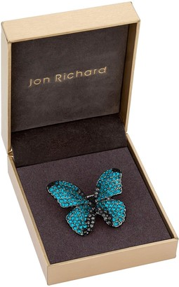 Jon Richard Blue Aqua And Jet Pave Butterfly Brooch