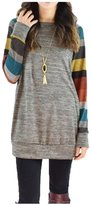 AuntTaylor Womens Chic Stripes Patterned Cotton Knitted Long Shirts Yellow L