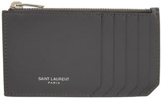 Saint Laurent Grey Paris Fragments Card Holder