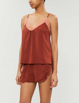 LOVE Stories Lynn lace-trimmed hammered-satin pyjama top
