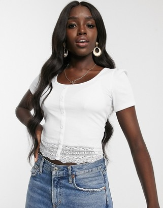 New Look lace trim button tee in white