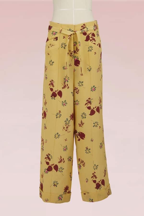 Valentino Floral Printed Silk Pajama Pants