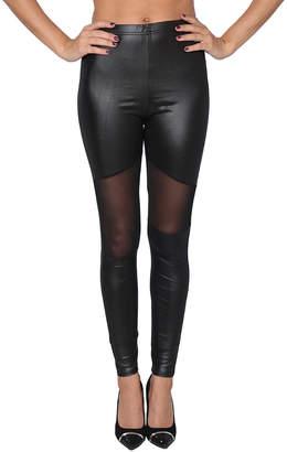 Isadora Women's Leggings Black - Black Mesh-Panel Faux Leather Leggings - Women