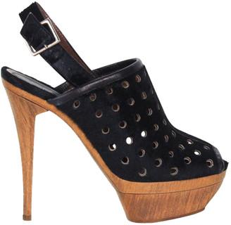 Marni Black Calf Hair Canvas Heel Sandals Size 36