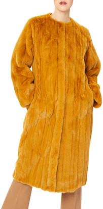 Oscar de la Renta Mink Collarless Let Out Coat