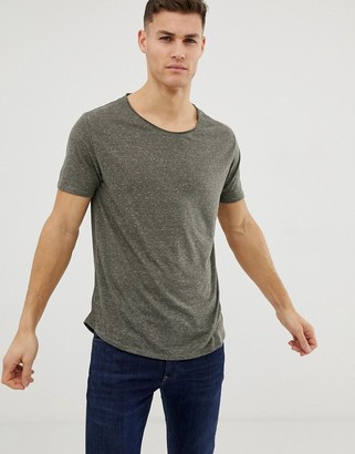 Asos Design DESIGN relaxed longline t-shirt with raw scoop neck and curve hem in linen mix in khaki-Green
