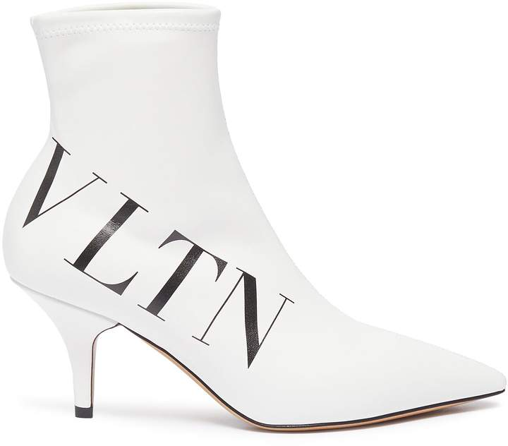 Valentino Logo print faux leather ankle boots