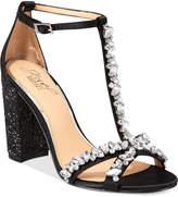 Badgley Mischka Carver Block-Heel Evening Sandals