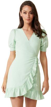Forever New Boston Wrap Linen Mini Dress