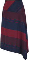 Tory Burch Asymmetric striped crepe skirt
