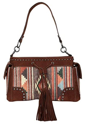 M&F Western Aztec Satchel (Brown/Cream/Rust) Handbags