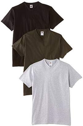 Fruit of the Loom Men's V-Neck Valueweight T-Shirt Pack of 3