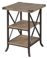 Laurèl Justina End Table Foundry Modern Farmhouse Table Base Color: Brown Frame, Table Top Color: Driftwood
