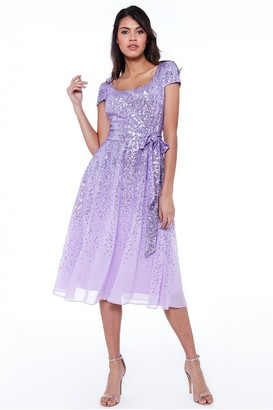 Goddiva Lavender Sequin & Chiffon Belted Midi Dress