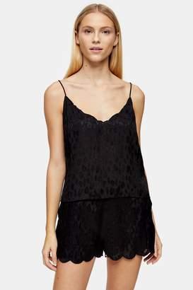 Topshop Black Pyjama Leopard Cami and Shorts