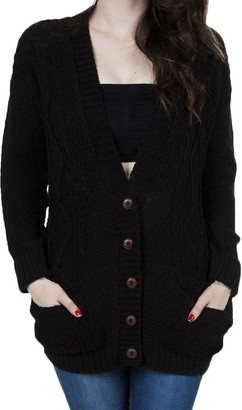 Tidecc Womens Knitted Grandad Cardigan Long Sleeve Chunky Cable Knit Button Grandad Long Sweater Cardigan Overcoats (Black Tag S(UK 6-8))