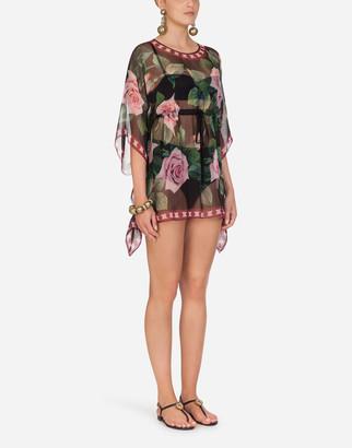 Dolce & Gabbana Tropical Rose Print Chiffon Kaftan