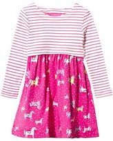 Joules Pink Stripe and Horse Print Jersey Dress