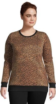 Lands' End Plus Size Serious Sweats Crewneck Long Sleeve Sweatshirt Tunic