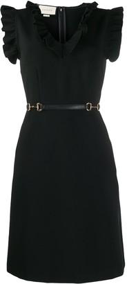 Gucci Horsebit detail belted dress