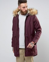 Asos Parka Jacket In Burgundy with Faux Fur Lining