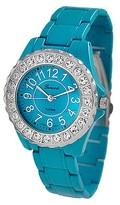 Geneva Platinum Women's Round Face Rhinestone Studded Metal Link Watch