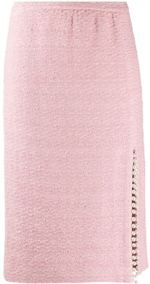 Giambattista Valli Tweed Pencil Skirt With Pearl Detailing