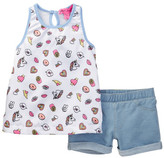 Betsey Johnson Emoji Print Satin Tank Top & Knit Denim Short Set (Little Girls)