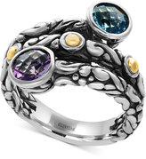 Effy Blue Topaz (1-1/3 ct. t.w.) and Amethyst (5/8 ct. t.w.) Wrap Ring in Sterling Silver and 18k Gold