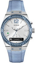 GUESS Connect Women's Blue Leather Strap Smart Watch 41mm C0002M5