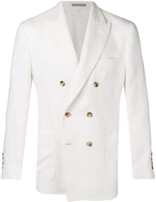 Brunello Cucinelli double breasted linen blazer