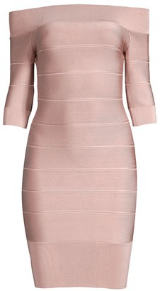 Herve Leger Off-The-Shoulder Mini Dress