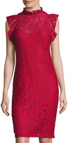 Neiman Marcus Lace Ruffled Sheath Dress, Wine
