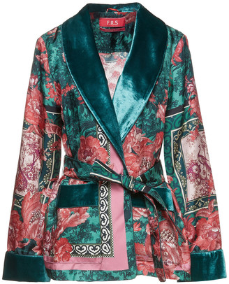 F.R.S For Restless Sleepers Armonia Belted Velvet-trimmed Printed Silk-satin Twill Jacket