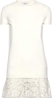 Valentino Corded Lace-paneled Stretch-knit Mini Dress