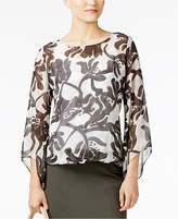 Alfani Printed Wide-Sleeve Bubble-Hem Top, Only at Macy's
