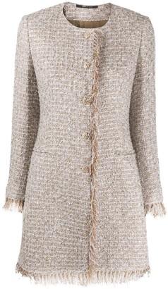 Tagliatore Fringed-Edge Collarless Tweed Coat