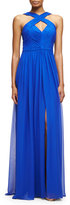 Aidan Mattox Ruched Silk Chiffon Keyhole Gown, Cobalt