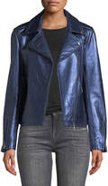 Neiman Marcus Leather Collection Snake-Textured Metallic Leather Moto Jacket