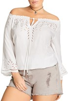 City Chic Detail Lover Eyelet Top