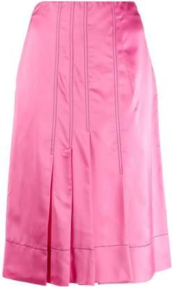 Marni silk effect pleated skirt